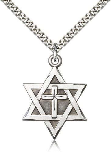 "Men's Large Sterling Silver Star of David with Cross Pendant - 24"" 2.4mm Rhodium Plate Endless Chain"