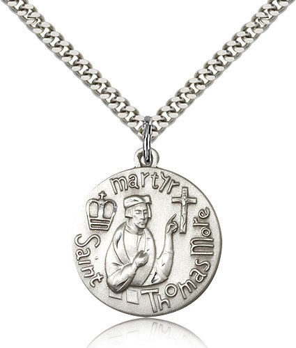 "St. Thomas More Medal, Sterling Silver - 24"" 2.4mm Rhodium Plate Endless Chain"