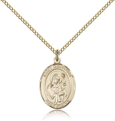 St. Gertrude of Nivelles Medal, Gold Filled, Medium - Gold-tone