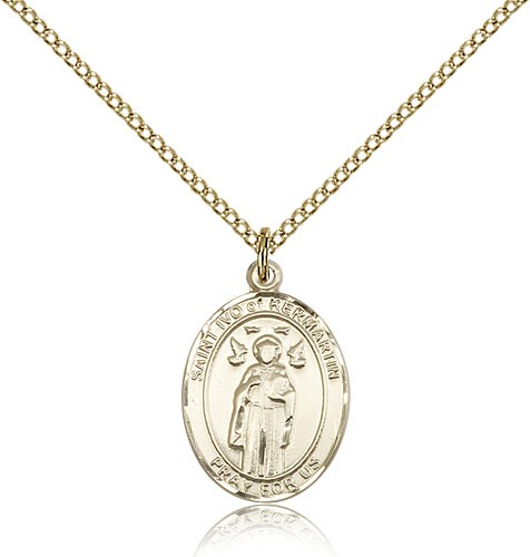 St. Ivo Medal, Gold Filled, Medium - Gold-tone