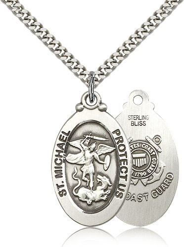 "St. Michael Coast Guard Medal, Sterling Silver - 24"" 2.4mm Rhodium Plate Endless Chain"