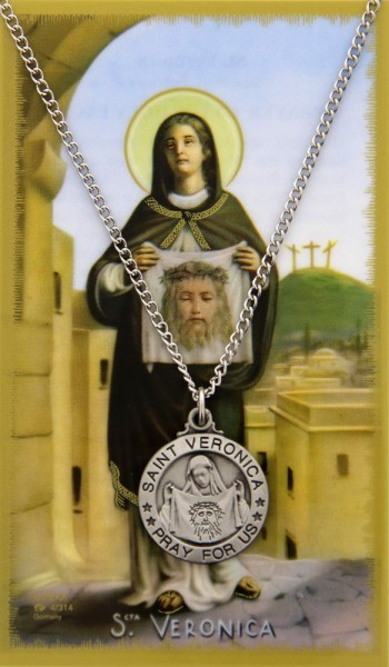 Round St. Veronica  Medal and Prayer Card Set - Silver-tone