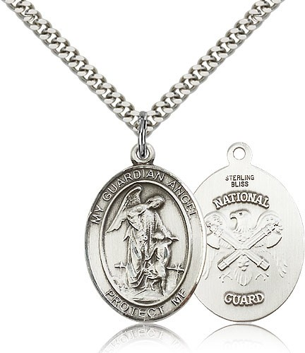 "Guardian Angel National Guard Medal, Sterling Silver, Large - 24"" 2.4mm Rhodium Plate Chain + Clasp"