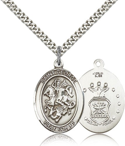 "St. George Air Force Medal, Sterling Silver, Large - 24"" 2.4mm Rhodium Plate Chain + Clasp"