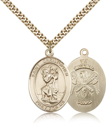 "St. Christopher National Guard Medal, Gold Filled, Large - 24"" 2.4mm Gold Plated Chain + Clasp"
