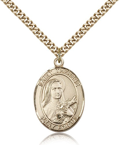 "St. Therese of Lisieux Medal, Gold Filled, Large - 24"" 2.4mm Gold Plated Chain + Clasp"