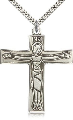 "Cursillio Cross Pendant, Sterling Silver - 24"" 2.4mm Rhodium Plate Endless Chain"