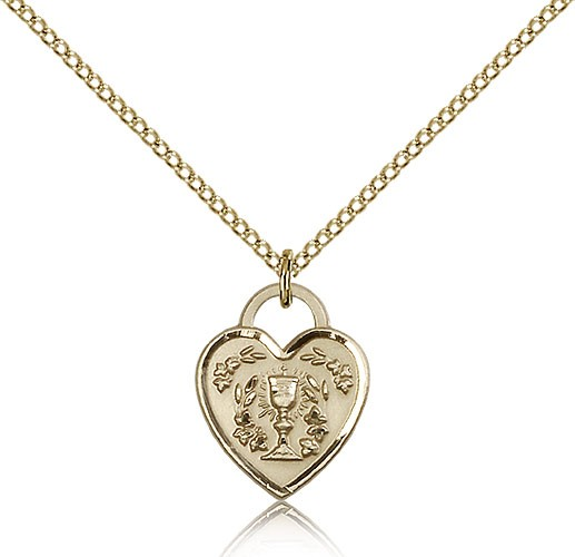 Communion Heart Medal, Gold Filled - Gold-tone