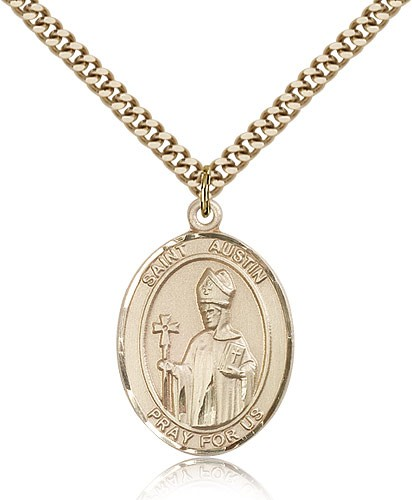 "St. Austin Medal, Gold Filled, Large - 24"" 2.4mm Gold Plated Chain + Clasp"