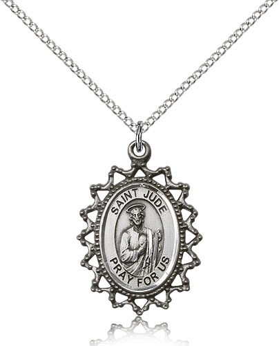 "St. Jude Medal, Sterling Silver - 18"" 1.2mm Sterling Silver Chain + Clasp"