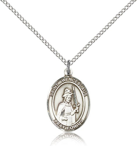 "St. Wenceslaus Medal, Sterling Silver, Medium - 18"" 1.2mm Sterling Silver Chain + Clasp"