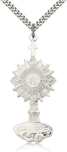 "Monstrance Medal, Sterling Silver - 24"" 2.4mm Rhodium Plate Endless Chain"