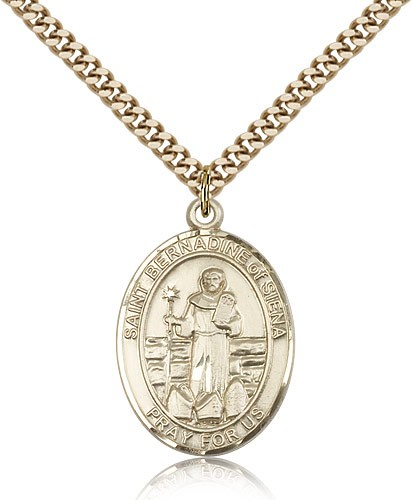 "St. Bernadine of Sienna Medal, Gold Filled, Large - 24"" 2.4mm Gold Plated Chain + Clasp"
