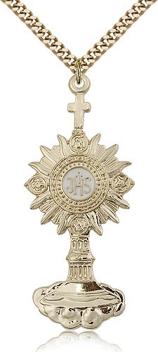 "Monstrance Medal, Gold Filled - 24"" 2.4mm Gold Plated Endless Chain"