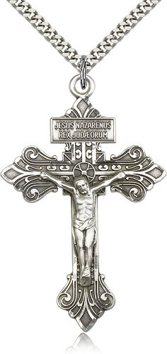 "Crucifix Pendant, Sterling Silver - 24"" 2.4mm Rhodium Plate Endless Chain"