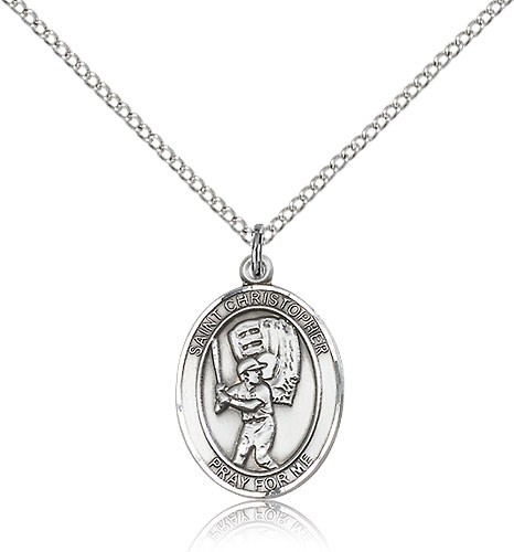 "St. Christopher Baseball Medal, Sterling Silver, Medium - 18"" 1.2mm Sterling Silver Chain + Clasp"