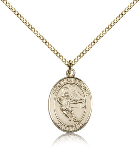 St. Christopher Hockey Medal, Gold Filled, Medium - Gold-tone