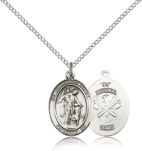 "Guardian Angel National Guard Medal, Sterling Silver, Medium - 18"" 1.2mm Sterling Silver Chain + Clasp"