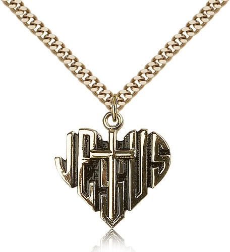 Heart of Jesus Cross Pendant, Gold Filled - Gold-tone