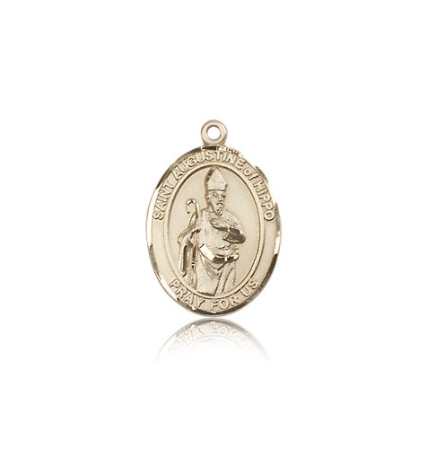 St. Augustine of Hippo Medal, 14 Karat Gold, Medium - 14 KT Yellow Gold
