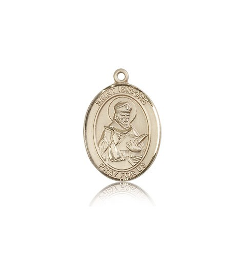St. Isidore of Seville Medal, 14 Karat Gold, Medium - 14 KT Yellow Gold