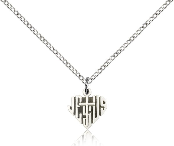 "Heart of Jesus Cross Pendant, Sterling Silver - 18"" 1.2mm Sterling Silver Chain + Clasp"
