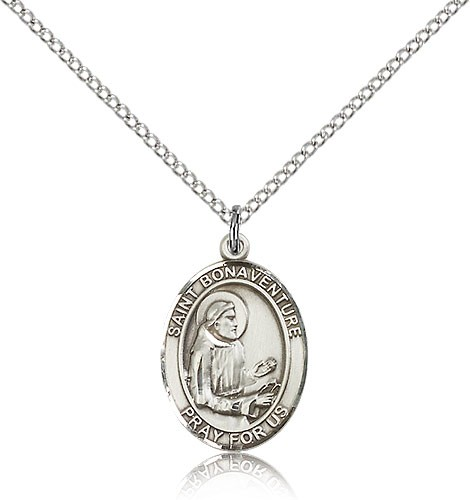 "St. Bonaventure Medal, Sterling Silver, Medium - 18"" 1.2mm Sterling Silver Chain + Clasp"