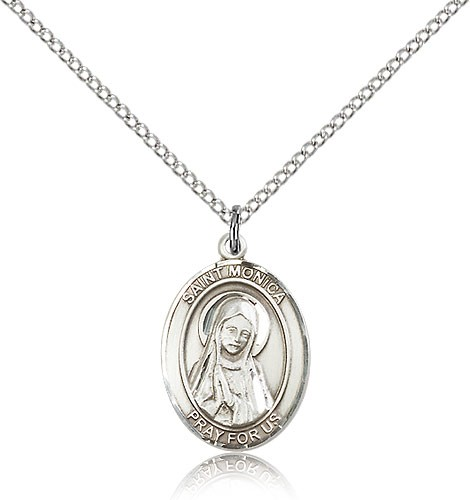 "St. Monica Medal, Sterling Silver, Medium - 18"" 1.2mm Sterling Silver Chain + Clasp"