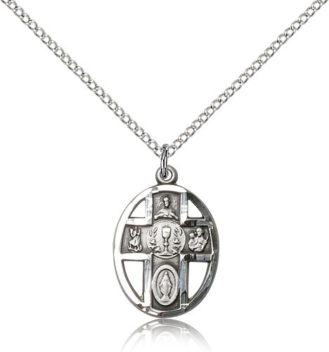 "5 Way Cross Chalice Medal, Sterling Silver - 18"" 1.2mm Sterling Silver Chain + Clasp"