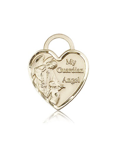 Guardian Angel Heart Medal, 14 Karat Gold - 14 KT Yellow Gold