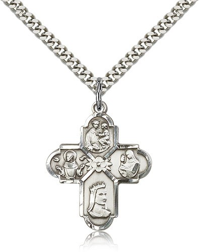 "Franciscan 4 Way Cross Pendant, Sterling Silver - 24"" 2.4mm Rhodium Plate Endless Chain"