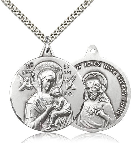 "Our Lady of Perpetual Help Medal, Sterling Silver - 24"" 2.4mm Rhodium Plate Endless Chain"