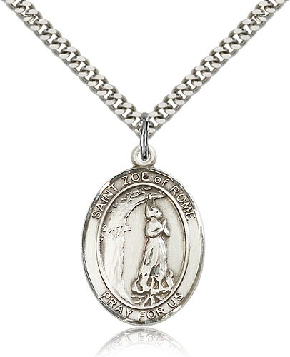 "St. Zoe of Rome Medal, Sterling Silver, Large - 24"" 2.4mm Rhodium Plate Chain + Clasp"