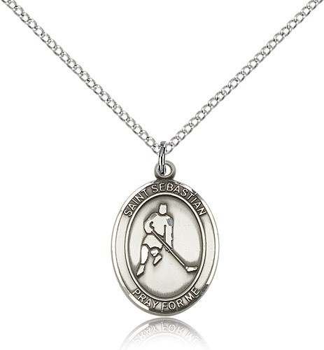 "St. Sebastian Ice Hockey Medal, Sterling Silver, Medium - 18"" 1.2mm Sterling Silver Chain + Clasp"