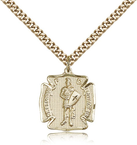 "St. Florian Medal, Gold Filled - 24"" 2.4mm Gold Plated Endless Chain"