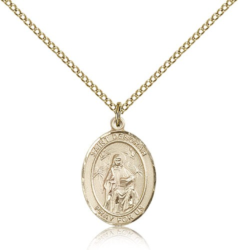 St. Deborah Medal, Gold Filled, Medium - Gold-tone