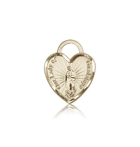 Our Lady of Guadalupe Heart Recuerdo Medal, 14 Karat Gold - 14 KT Yellow Gold