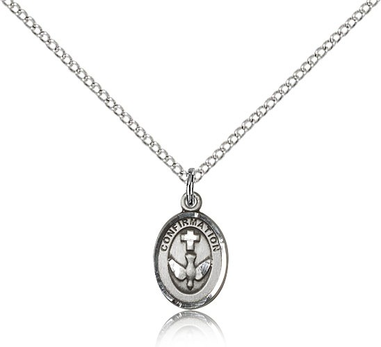 "Confirmation Medal, Sterling Silver - 18"" 1.2mm Sterling Silver Chain + Clasp"