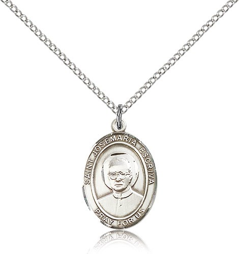"St. Josemaria Escriva Medal, Sterling Silver, Medium - 18"" 1.2mm Sterling Silver Chain + Clasp"