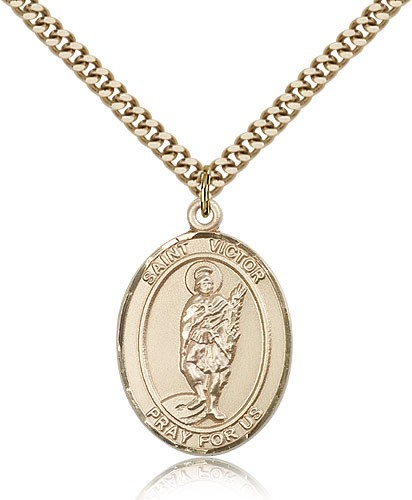 "St. Victor of Marseilles Medal, Gold Filled, Large - 24"" 2.4mm Gold Plated Chain + Clasp"