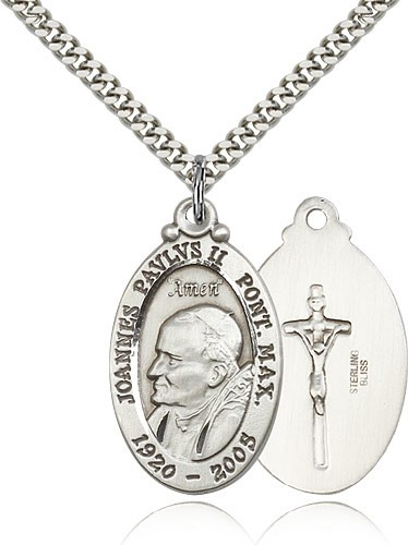 "Pope John Paul II Medal, Sterling Silver - 24"" 2.4mm Rhodium Plate Endless Chain"