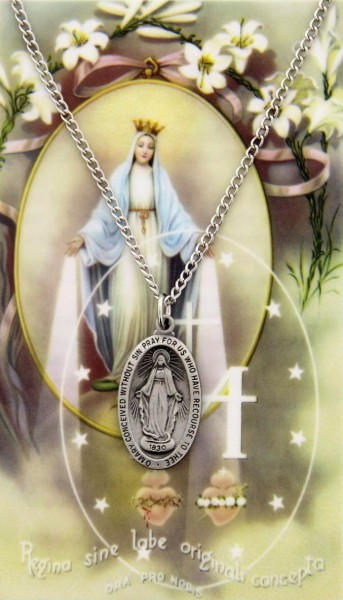 Heartland Store Womens Sterling Silver Our Lady of Knock Oval Medal 18 Inch Sterling Silver Chain /& Clasp