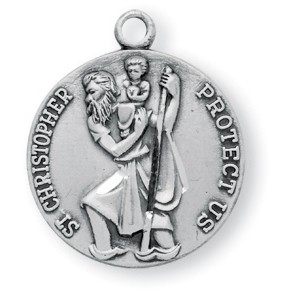 "Women's or Boy's Sterling Silver Round Saint Christopher Necklace with Chain Options - 20"" 2.25mm Rhodium Plated Chain with Clasp"
