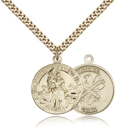 "St. Joan of Arc National Guard Medal, Gold Filled - 24"" 2.4mm Gold Plated Endless Chain"