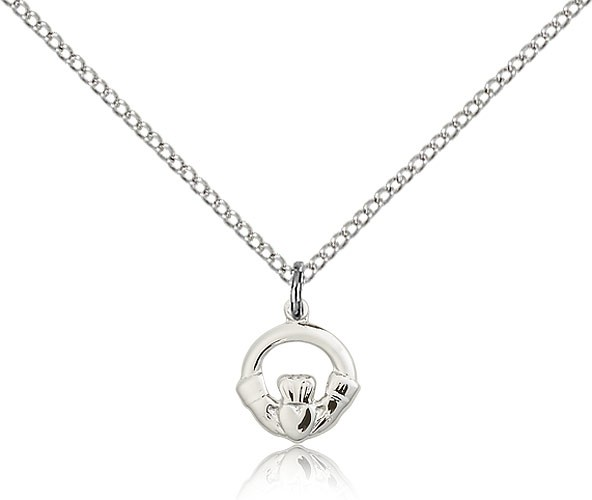 "Claddagh Medal, Sterling Silver - 18"" 1.2mm Sterling Silver Chain + Clasp"