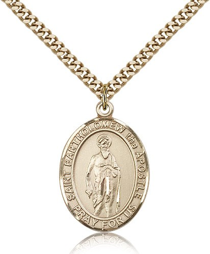 "St. Bartholomew the Apostle Medal, Gold Filled, Large - 24"" 2.4mm Gold Plated Chain + Clasp"