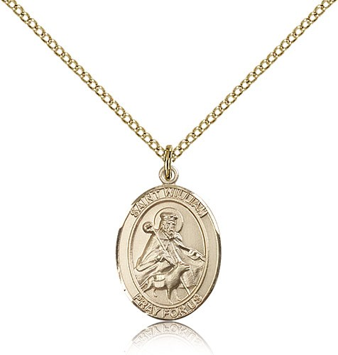 St. William of Rochester Medal, Gold Filled, Medium - Gold-tone