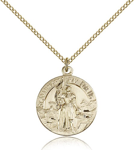 St. Joan of Arc Medal, Gold Filled - Gold-tone