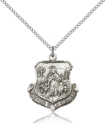 "Lord Is My Shepherd Medal, Sterling Silver - 18"" 1.2mm Sterling Silver Chain + Clasp"