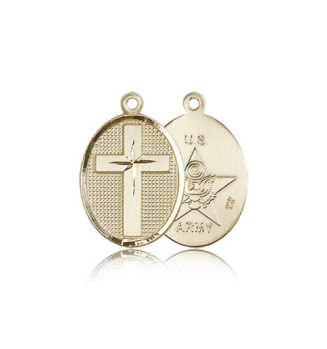 Army Cross Pendant, 14 Karat Gold - 14 KT Yellow Gold